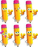 Set of happy pencils giving you a gift box Stock Photos