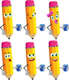 Set of happy pencils with a glass of water Royalty Free Stock Photos