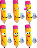 Set of happy pencils with a glass of water Royalty Free Stock Images