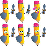 Set of happy pencils guard with shield and sword Royalty Free Stock Images