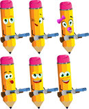 Set of happy pencils with a gun Royalty Free Stock Image