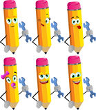 Set of happy pencils handyman holding a wrench Royalty Free Stock Photos