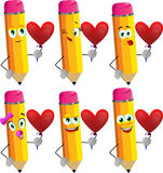 Set of happy pencils with heart balloon Royalty Free Stock Photo