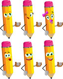 Set of happy pencils holding baseball ball Royalty Free Stock Images
