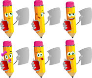 Set of happy pencils holding beer or soda can and blank paper Royalty Free Stock Photos