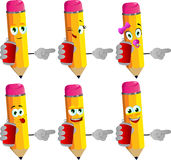 Set of happy pencils holding beer or soda can and pointing Royalty Free Stock Photos
