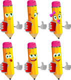 Set of happy pencils holding beer or soda can and showing thumb up Stock Photography