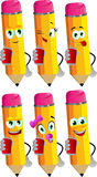 Set of happy pencils holding beer or soda can Royalty Free Stock Photos