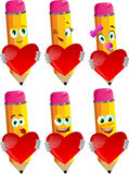 Set of happy pencils holding a big red heart Stock Photo