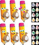 Set of happy pencils holding a big sack with variable signs Royalty Free Stock Photos