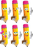 Set of happy pencils holding book with attitude Royalty Free Stock Image