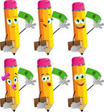Set of happy pencils holding book and money Stock Image