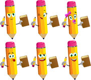 Set of happy pencils holding a book and a pencil Royalty Free Stock Photography