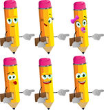 Set of happy pencils holding book and pointing Stock Photos