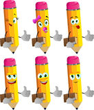 Set of happy pencils holding book and showing thumb up Stock Photos