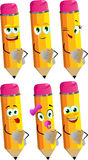 Set of happy pencils holding contract Stock Photography