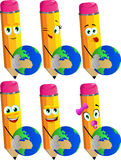 Set of happy pencils holding Earth Royalty Free Stock Image