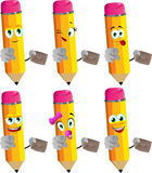 Set of happy pencils holding an envelope and pointing at viewer Stock Photography