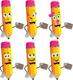 Set of happy pencils holding an envelope Stock Photos