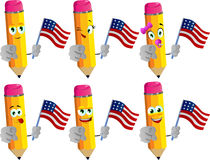 Set of happy pencils holding the flag of the USA and pointing at viewer Stock Photos