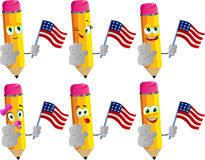 Set of happy pencils holding the flag of the USA and a stop sign Stock Images