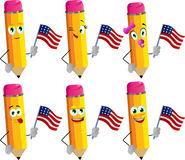Set of happy pencils holding the flag of the USA Stock Photo