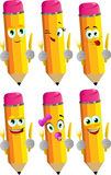 Set of happy pencils holding fork and knife Stock Photography