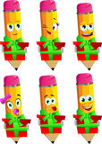Set of happy pencils holding gift box Royalty Free Stock Photo