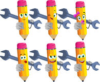 Set of happy pencils holding a huge wrench and pointing at viewer Royalty Free Stock Images