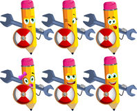 Set of happy pencils holding a huge wrench and shield Royalty Free Stock Photo