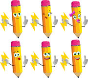 Set of happy pencils holding lighting with attitude Stock Image