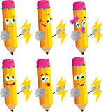 Set of happy pencils holding lighting and pointing at viewer Royalty Free Stock Photography