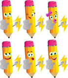 Set of happy pencils holding lighting and a stop sign Royalty Free Stock Images