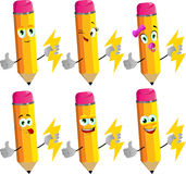 Set of happy pencils holding lighting with thumb up Royalty Free Stock Image