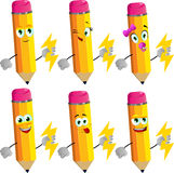 Set of happy pencils holding lighting Royalty Free Stock Image