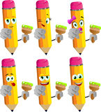 Set of happy pencils holding a paint brush and pointing at viewer Stock Images