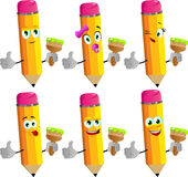 Set of happy pencils holding a paint brush and showing thumb up Stock Images