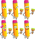 Set of happy pencils holding a paint brush Royalty Free Stock Photo