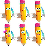 Set of happy pencils holding paper scroll and feather Royalty Free Stock Image