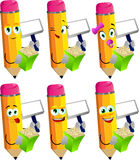 Set of happy pencils holding popcorn and blank board Stock Photo