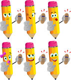 Set of happy pencils holding ringing phone and holding a stop sign Stock Photography