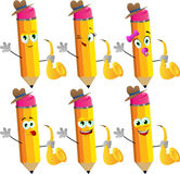 Set of happy pencils holding saxophone Royalty Free Stock Photos
