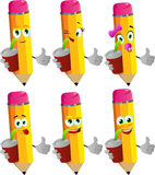 Set of happy pencils holding soda and showing thumb up sign Stock Photography