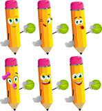 Set of happy pencils holding a tennis ball Royalty Free Stock Photos