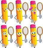 Set of happy pencils holding a tennis rocket Royalty Free Stock Photos