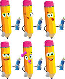 Set of happy pencils holding toothpaste Royalty Free Stock Images
