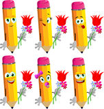 Set of happy pencils holding tulip and other flowers Stock Photography