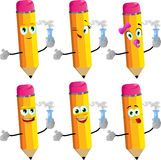 Set of happy pencils holds beaker of chemicals Stock Image
