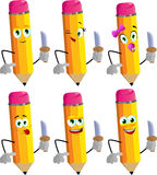 Set of happy pencils with a knife Royalty Free Stock Photo