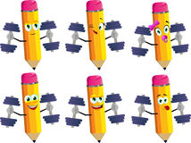 Set of happy pencils lifting weight Stock Photo